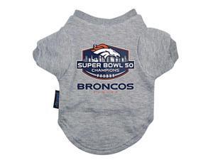 Denver Broncos NFL Hunter MFG Gray Super Bowl 50 Champions Dog Pet T-Shirt (L)