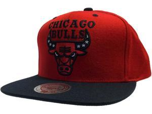 Chicago Bulls Mitchell and Ness Red Black Flat Bill Snapback Adjustable Hat Cap