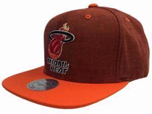 Miami Heat Mitchell & Ness Red & Orange Flat Bill Adj Snapback Hat Cap