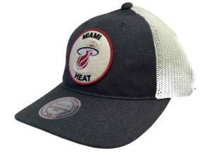 Miami Heat Mitchell & Ness Charcoal & White Flat Bill Adj Snapback Hat Cap