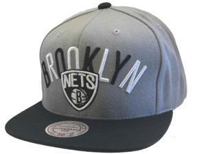Brooklyn Nets Mitchell & Ness Gray, Black & White Flat Bill Adj Snapback Hat Cap