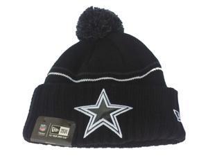 Dallas Cowboys New Era Navy & White Striped Cuffed Pom Pom Knit Beanie Cap
