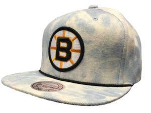 Boston Bruins Mitchell & Ness NHL Snapback Blue Tie Dye Flat Bill Adj Hat Cap