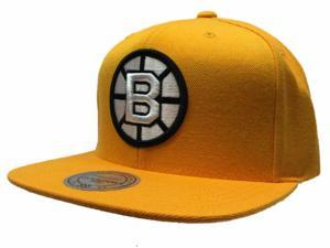 Boston Bruins Mitchell & Ness NHL Acrylic Gold Adj Flatbill Snapback Hat Cap
