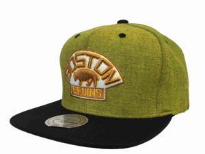 Boston Bruins Mitchell & Ness NHL Snapback Gold Black Flat Bill Adj Hat Cap