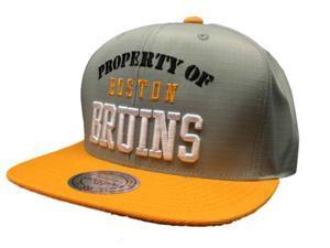 Boston Bruins Mitchell & Ness NHL 100% Nylon Flat Bill Adjustable Strap Hat Cap