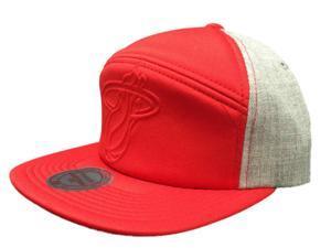 Miami Heat Mitchell & Ness Acrylic Flat Bill Red Gray Snapback Adj Hat Cap