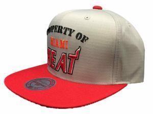 Miami Heat Mitchell & Ness Nylon Flat Bill Red Gray Property of Adjust Hat Cap