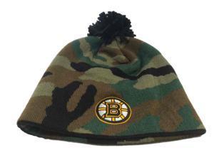 Boston Bruins Reebok Camo Heavy Knit Poofball Acrylic Black Beanie Cap Hat