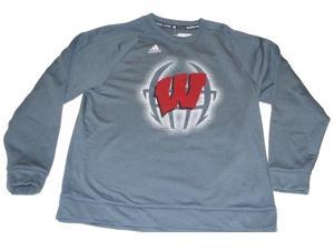 Wisconsin Badgers Adidas Climawarm Performance Gray Heavy Sweatshirt (L)