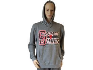 Chicago Bulls Mitchell and Ness Gray LS Drawstring Hoodie Sweatshirt (L)