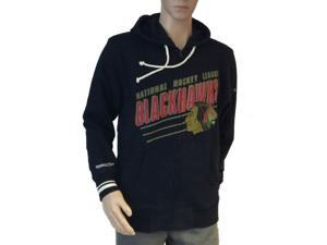 Chicago Blackhawks Mitchell and Ness Black LS Full Zip Jacket with Pockets (L)