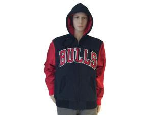 Chicago Bulls Mitchell and Ness Black with Red Sleeves LS Full Zip Jacket (L)