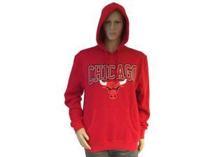 Chicago Bulls Mitchell and Ness Red LS Hoodie Sweatshirt with Front Pocket (L)