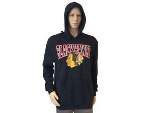 Chicago Blackhawks Mitchell and Ness Black LS Drawstring Hoodie Sweatshirt (L)