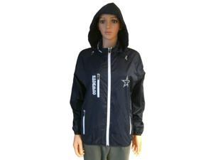 Dallas Cowboys NFL WOMENS Navy Full Zip Jacket with Pockets & Hideaway Hood (L)