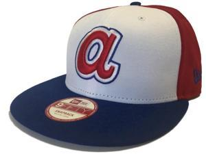 Atlanta Braves New Era 9Fifty Flatbill Cooperstown Snapback Blue Hat Cap (M/L)
