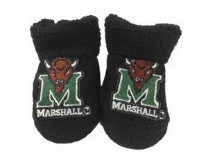 Marshall Thundering Herd Two Feet Ahead Infant Baby Newborn Black Socks Booties