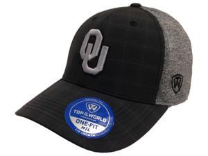 Oklahoma Sooners TOW Black Plaid Gray Season Performance Memory Flexfit Hat Cap