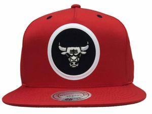 Chicago Bulls Mitchell & Ness Red Circle Logo Adjustable Strap Flat Bill Hat Cap
