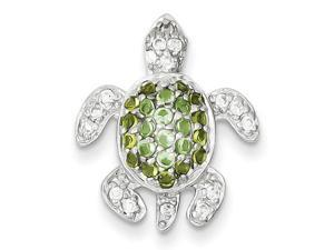 Sterling Silver Clear, Green And Blue Cz Turtle Pendant