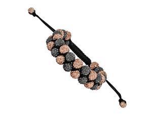 8mm Gray & Peach Crystal Double Row Beads Black Cord Bracelet