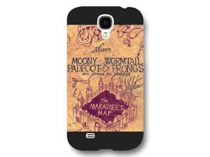 Onelee - Customized Personalized Black Frosted Samsung Galaxy S4 Case, Harry Potter Samsung Galaxy S4 case, Harry Potter Hogwarts Marauders Map Samsung Galaxy S4 case, Only fit Samsung Galaxy S4