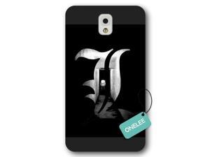 Galaxy Note 3 Case, Onelee [Scratch Resistant] Japanese Anime Series Death Note L Logo Galaxy Note 3 Case, Frosted  Black Hard Case for Galaxy Note 3