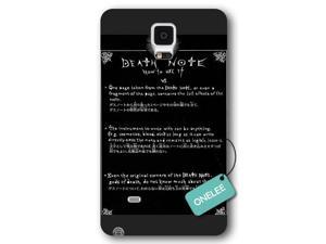 Galaxy Note 4 Case, Onelee [Scratch Resistant] Japanese Anime Series Death Note L Logo Galaxy Note 4 Case, Frosted  Black Hard Case for Galaxy Note 4