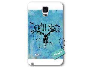 Galaxy Note 4 Case, Onelee [Scratch Resistant] Japanese Anime Series Death Note L Logo Galaxy Note 4 Case, Frosted  White Hard Case for Galaxy Note 4