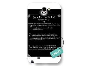 Galaxy Note 2 Case, Onelee [Scratch Resistant] Japanese Anime Series Death Note L Logo Galaxy Note 2 Case, Frosted  White Hard Case for Galaxy Note 2