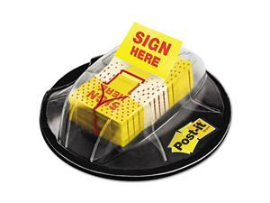 """Post-it Flags - Flags in Dispenser, """"Sign Here"""", Yellow - 200 Flags/Dispenser"""