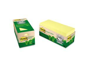 Post-it - Greener Recycled Notes - 3 x 3 - Canary Yellow - 24 75-Sheet Pads/Pack