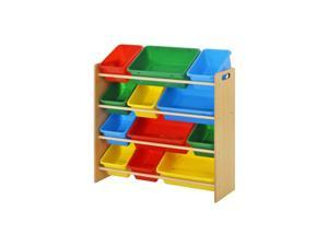 Kids Bin Organizer with 12 Plastic Bins - Color Bright