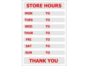 """Store Hours - 8"""" x 12"""" Decal - 6 Pack"""