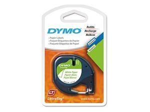"DYMO LetraTag - 10697 Paper Label Tape, 1/2"", White - 2 Pack"