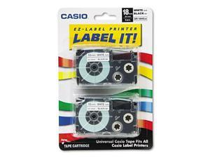 Casio - Tape Cassettes for KL Label Makers, 18mm x 26ft, Black on White - 2/Pack