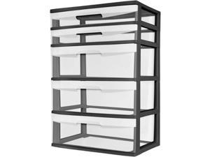 Sterilite 5 Drawer Wide Tower- Black