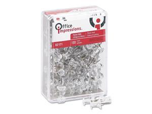 """Office Impressions - Clear Plastic Push Pins - 3/8"""" - 100 Count Packs of 6"""