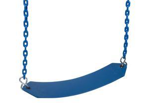 Swing Set Stuff Belt Swing With 8.5 Ft Coated Chain (Blue) SSS Logo Sticker