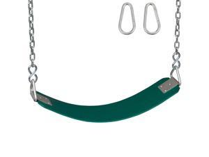 Swing Set Stuff Commercial Rubber Belt Seat With 5.5 Ft Chains and Hooks (Green) SSS Logo Sticker