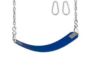 Swing Set Stuff Commercial Rubber Belt Seat With 5.5 Ft Chains and Hooks (Blue) SSS Logo Sticker