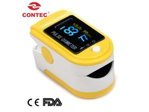 CONTEC New CMS50D-Yellow fingertip Pulse Oximeter,Blood Oxygen monitor,OLED display, Spo2,PR,FDA CE pass