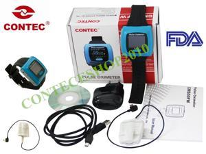 CONTEC-CMS50F-Wrist-Fingertip Pulse-Oximeter with adult SPO2 probe,Heart rate monitor Sleep study,USB PC Software-CE-FDA
