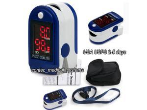 CONTEC CMS50DL Pulse Oximeter Fingertip Blood Oxygen Monitor With Carry Case - Dark Blue