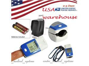 CMS50B fingertip finger Pulse Oximeter blood oxygen saturation monitor SpO2 PR LCD display,USA ship from illinois,lanyard+case+battery,FDA approved,CONTEC