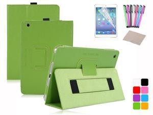 For iPad Mini Magnetic PU Leather Handheld Two-fold Folio Stand Smart Case Cover Sleep Wake + Film + Stylus + Cloth