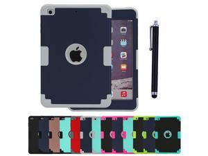 3 Layers Hybrid Shockproof Case with Stylus and Screen Protector for Apple iPad mini 1/2/3/4  Contrast Colors