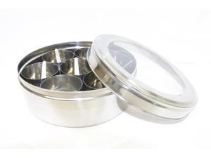 Tabakh Stainless Steel Masala Dabba Spice Container Box with 7 Spoons - Clear Lid