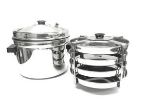 Tabakh 4-Plates Racks Dhokla Stand with Cooker, Stainless Steel